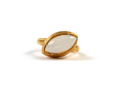 Goldlust LDN Rainbow Moonstone Oval Ring in 18k Gold