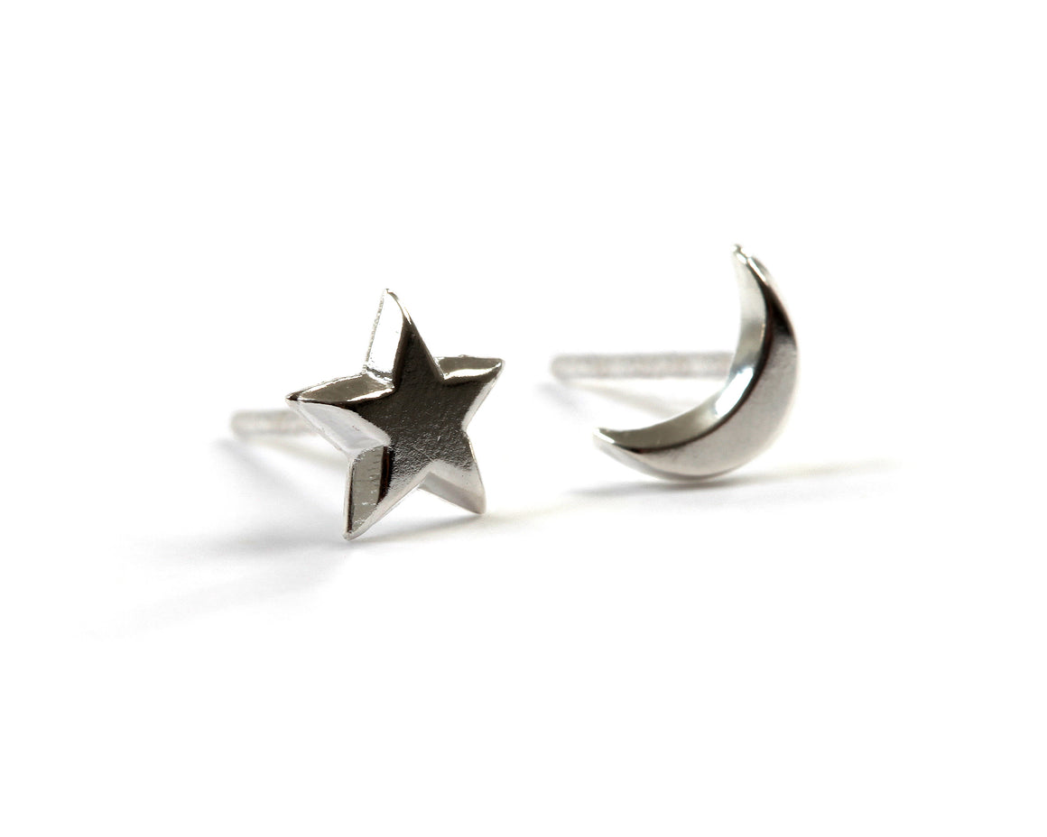 Goldlust LDN Moon and Star Earrings in Sterling Silver