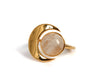 Goldlust LDN Rainbow Moonstone Crescent Ring in Polished Gold
