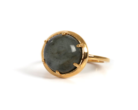 Goldlust LDN Labradorite Ring in Polished Gold