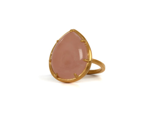 Goldlust LDN Rose Quartz Teardrop Ring
