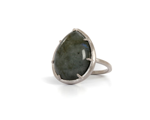 Goldlust LDN Labradorite Tear Drop Ring in Sterling Silver
