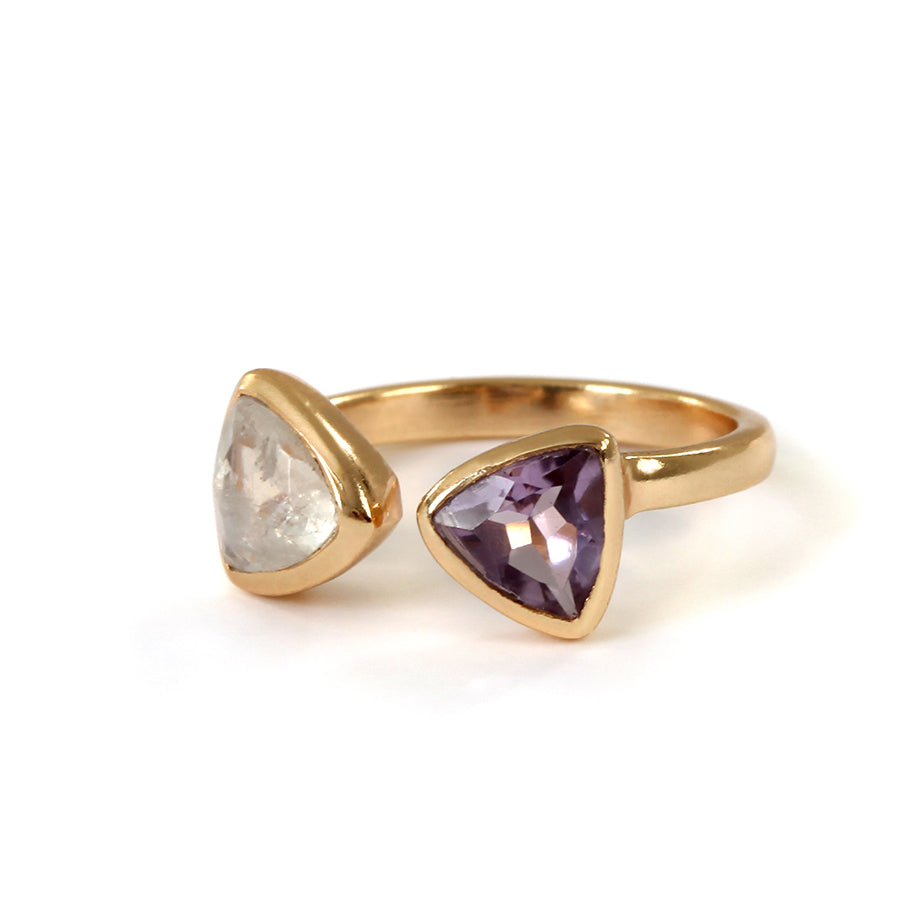 Goldlust LDN Amethyst and Rainbow Moonstone Ring in 18k Gold