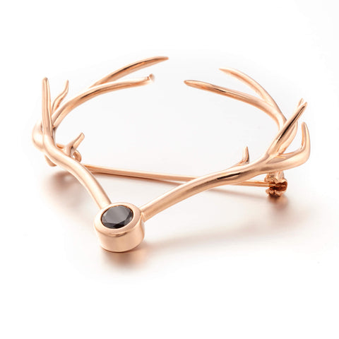 925 Sterling Silver with Rose Gold Plating Brooch. Fine Brooch Jewellery. Heart Antler Brooch.
