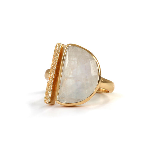 Goldlust LDN Rainbow Moonstone Parallel Ring in 18k Gold