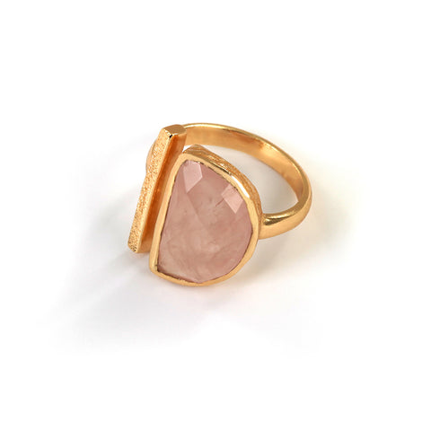 Goldlust LDN Rose Quartz Parallel Ring in 18K Gold