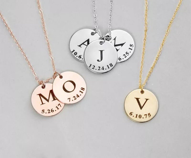 Engraved Initial birthdate coin necklaces