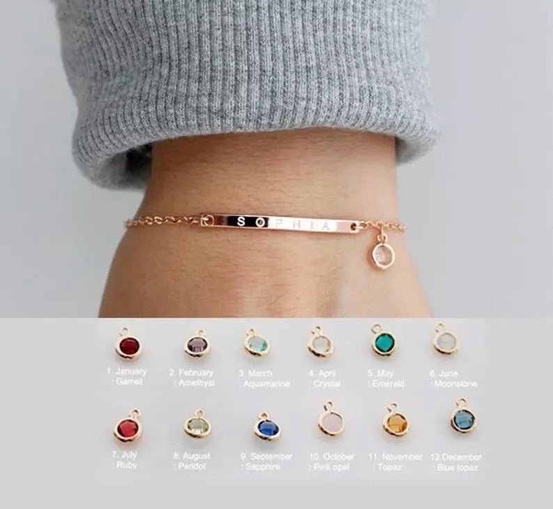 Engraved bracelet with birthstone