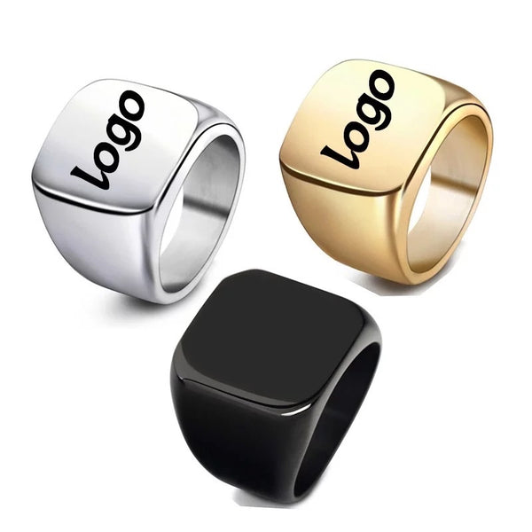 Square custom logo rings