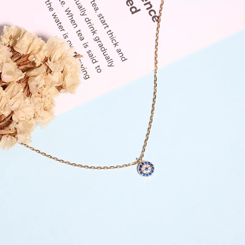 Dainty evil eye paved cubic zirconia necklace