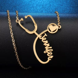 Dr or nurse Stethoscope custom name necklace