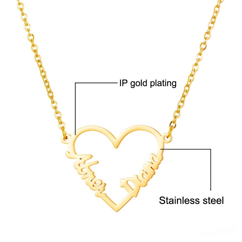 Double name heart shape necklace sterling