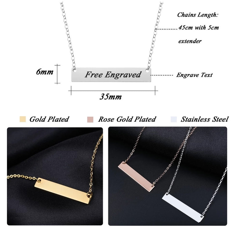 Custom engraved Bar & name plate necklaces
