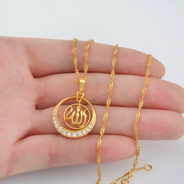 beautiful Allah pendant with chain  14k gold plated with Rhinestones