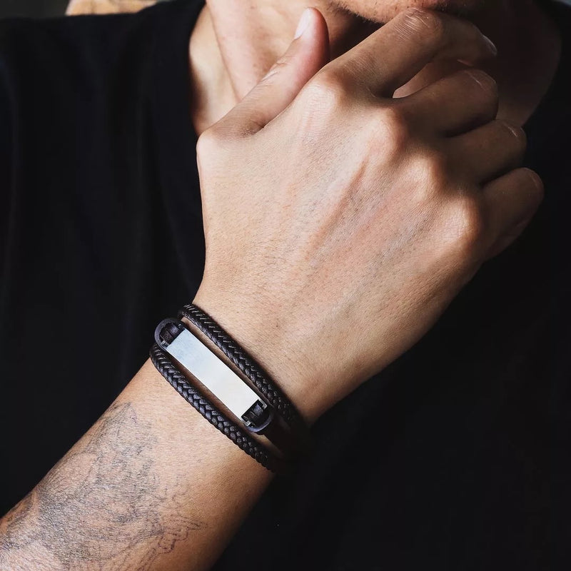 Men's Multi Strand Leather bracelet