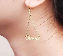 Beautiful drop Name earrings sterling silver