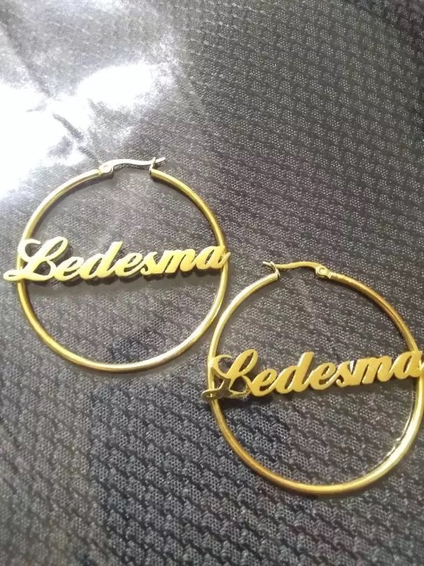 Trendy name hoop earrings