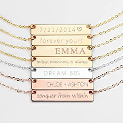 Custom engraved name plate pendant