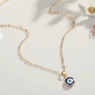 Dainty Blue Evil eye glass  necklace sterling silver gold plated 14k