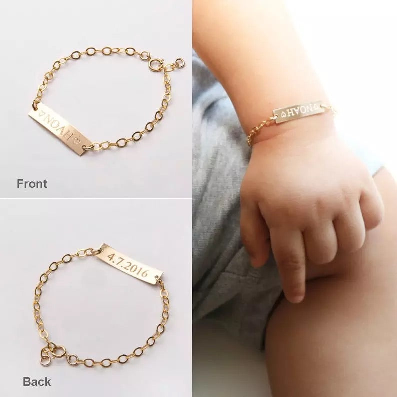 Kids, baby engraved name sterling silver 10k gold plated