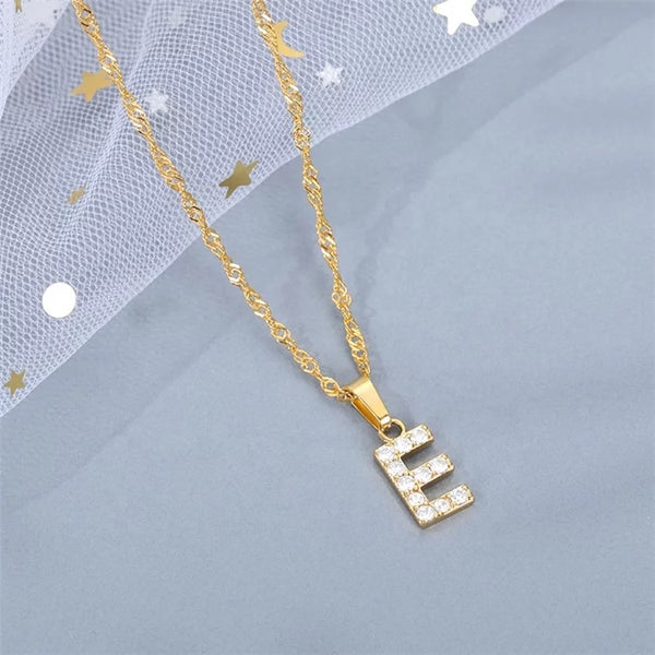 Iced initial letter pendants with chain