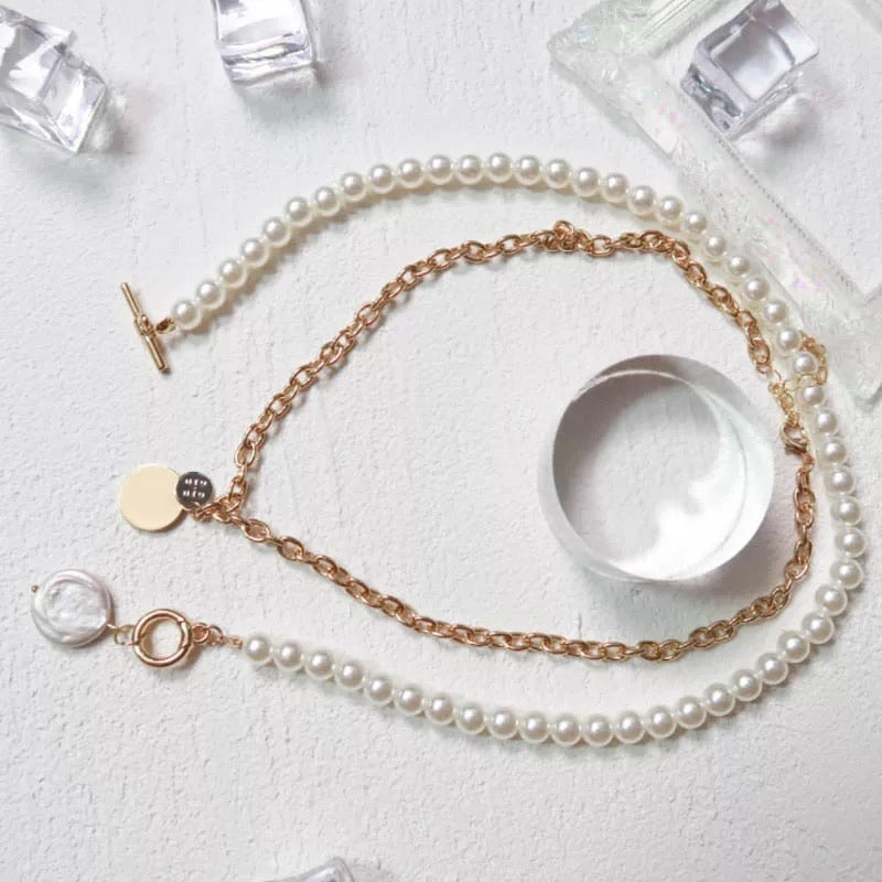 Coin drop layered necklace with pearls