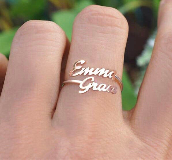 Double name ring in Arabic or English or both