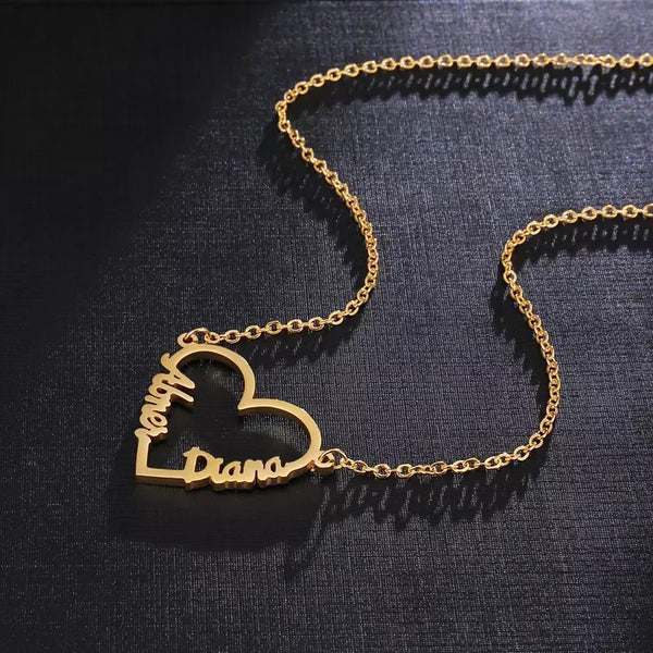 Double name heart shape necklace