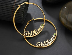 Hoop name earrings with birthstones
