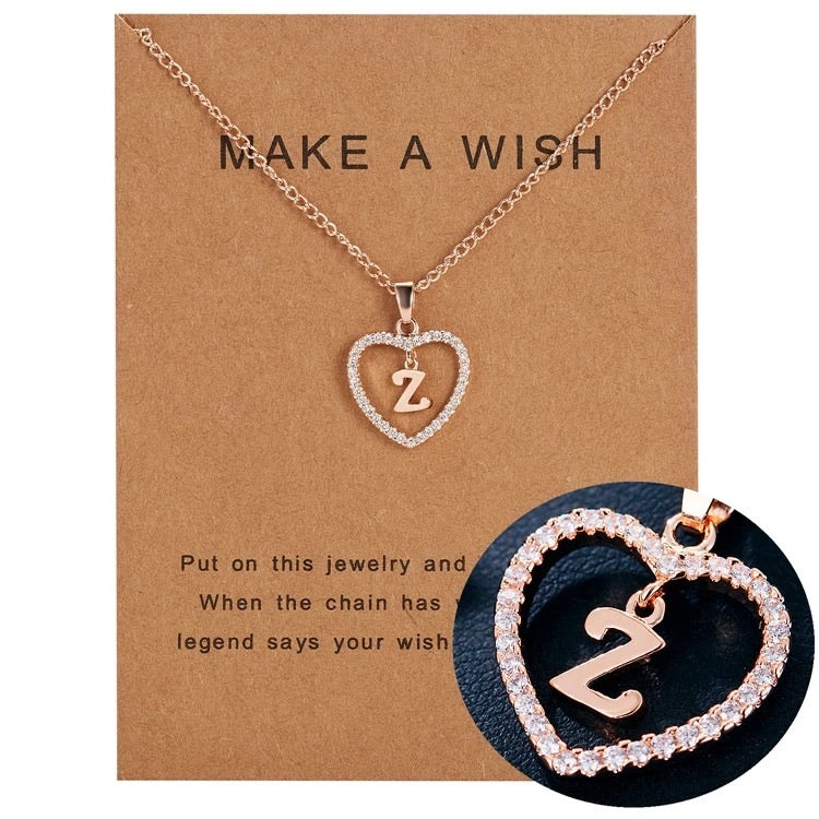 In my heart initial and letter pendant
