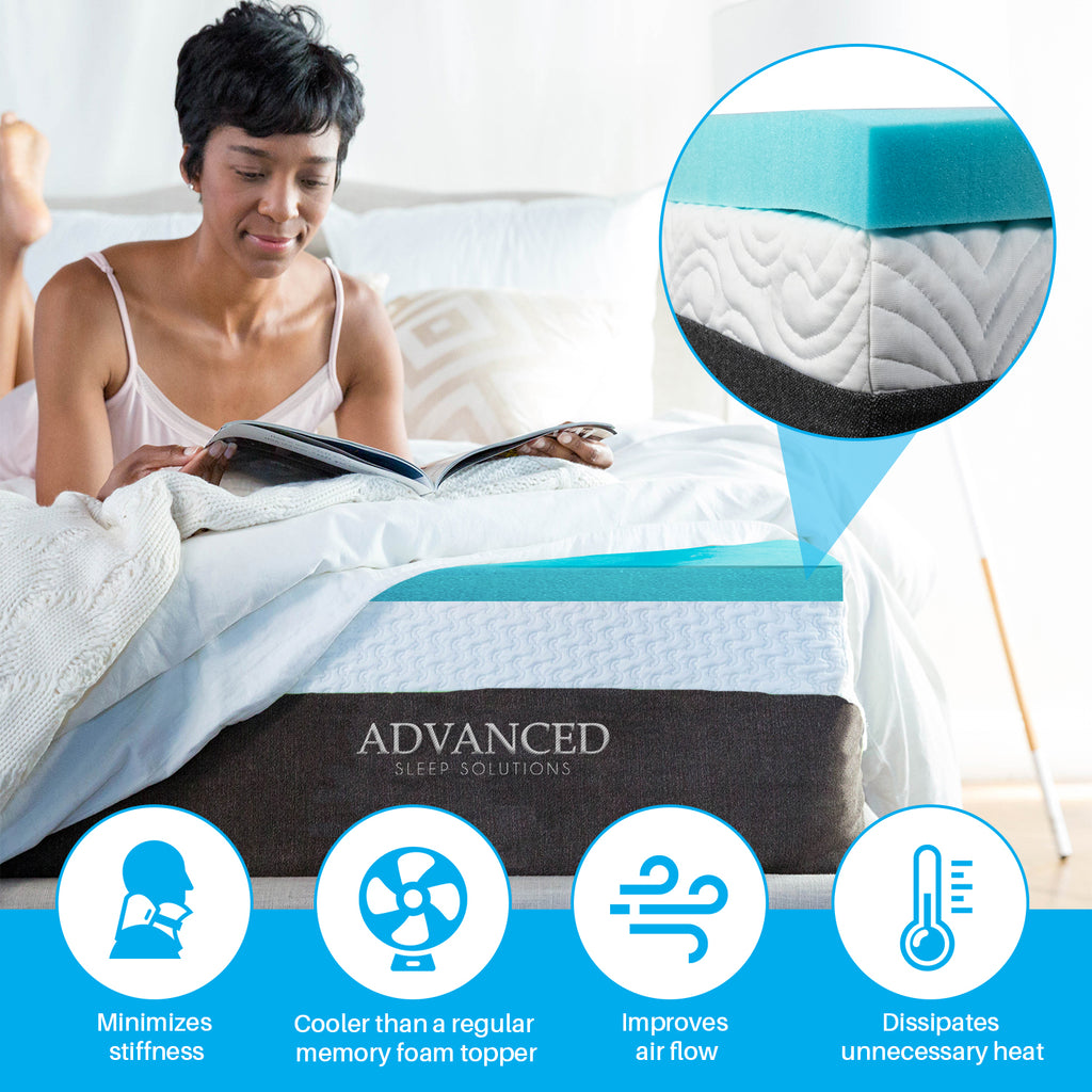 Gel Memory Foam Mattress Topper - Medium Soft - 2 Inch