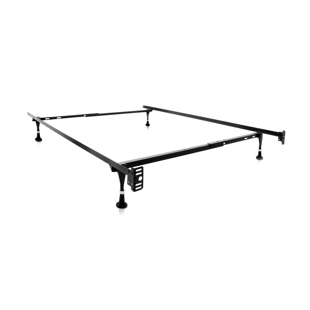 Twin Or Full Adjustable Metal Bed Frame With Rug Rollers