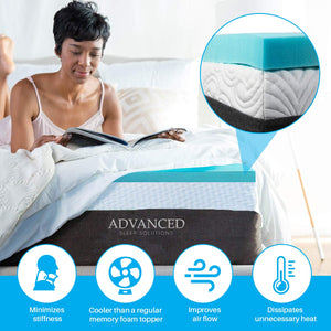 Gel Memory Foam Mattress Topper Cal King Size, Medium-Soft Plush 2 Inch Thick, Gel-Infused California King Memory Foam Mattress Topper for a Soft, Conforming, and Comfortable Sleep. Made in The USA