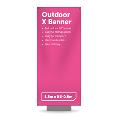 1.8m x 0.8m Outdoor X Banner - Outdoor Banner Stand - UK Banner Printing - 1
