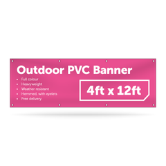 4ft x 12ft Outdoor PVC Banner - Outdoor PVC Banner - UK Banner Printing - 1
