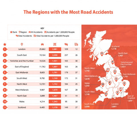 Regions with the most road accidents map infographic (ChooseMyCar)
