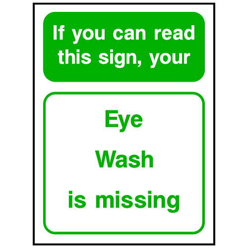 Eye Wash Kit Missing Sign