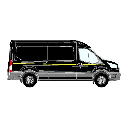 Ford Transit Mk5 ND LWB 2014+ - Reflective Side Marking kit