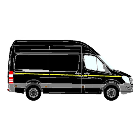 Mercedes Sprinter Mk2 DD (906) NCV3 MWB 2013+ - Reflective Side Marking kit