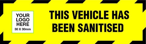 Personalised Sanitised Vehicle Door Sticker - 100 Pack