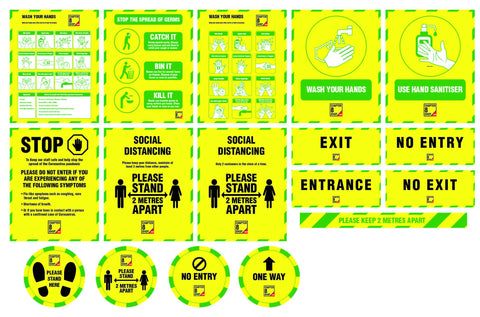 Social Distancing & Safety Workplace Wall & Floor Sticker & Sign Pack