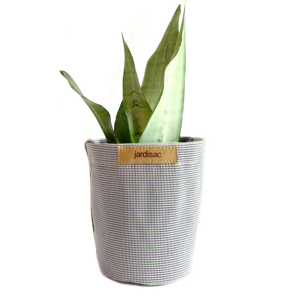 Plant pots grey in fabric geotextile gardening flowers indoor outdor
