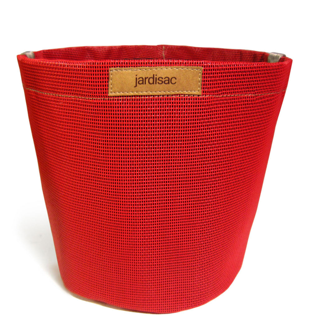 red geotextile plant container pot à fleurs