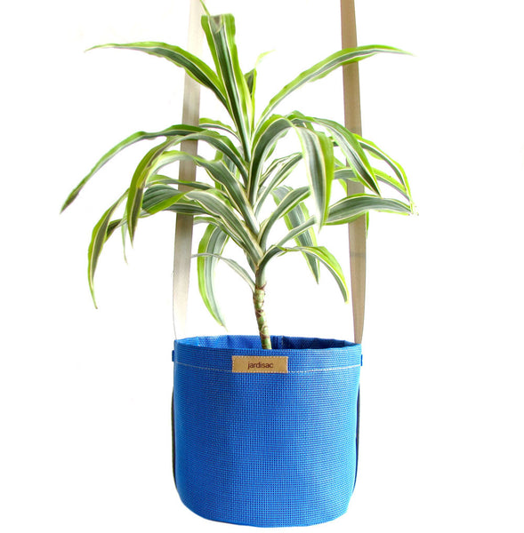 Hanging flower pot blue in geotextile fabric pots