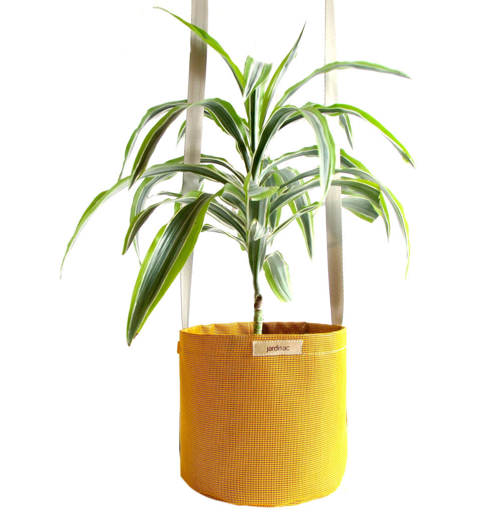 hanging flower pots yellow in geotextile and plastic