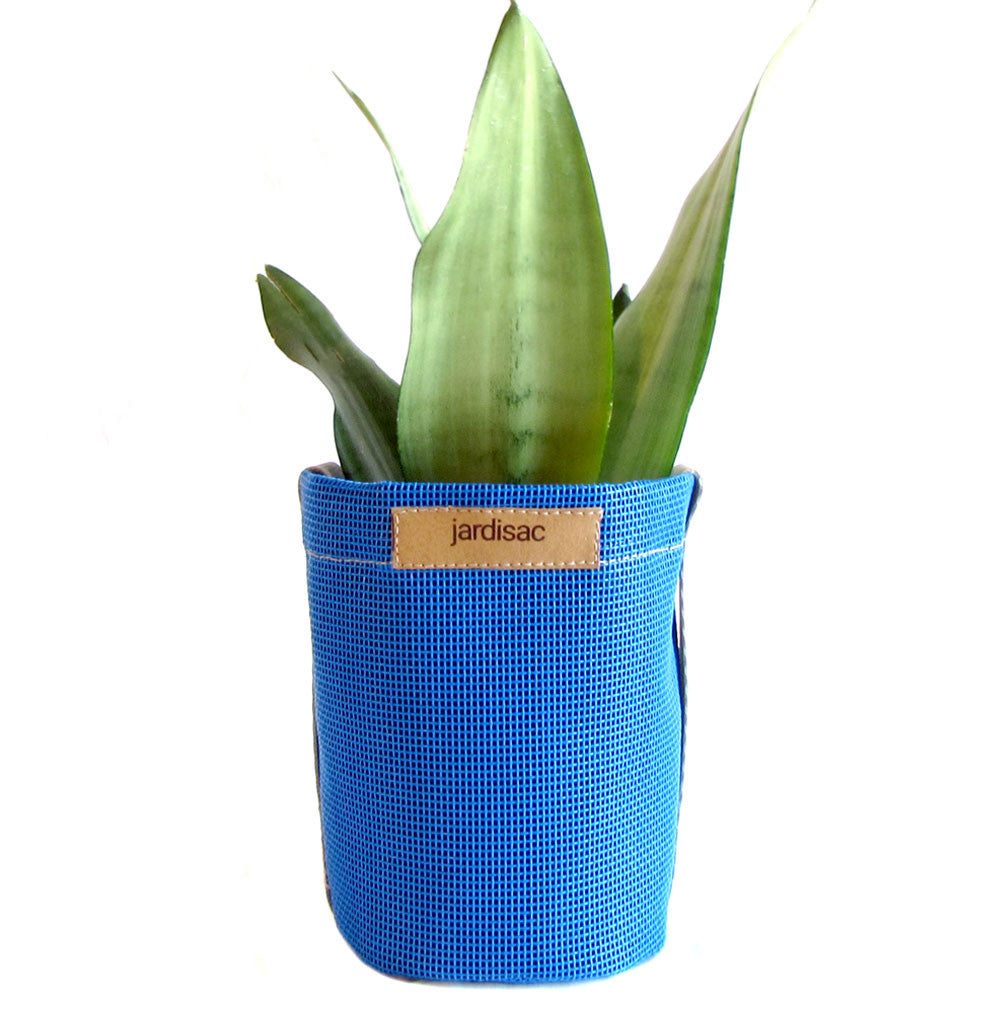 small plant pot blue handle side cheap plastic pot
