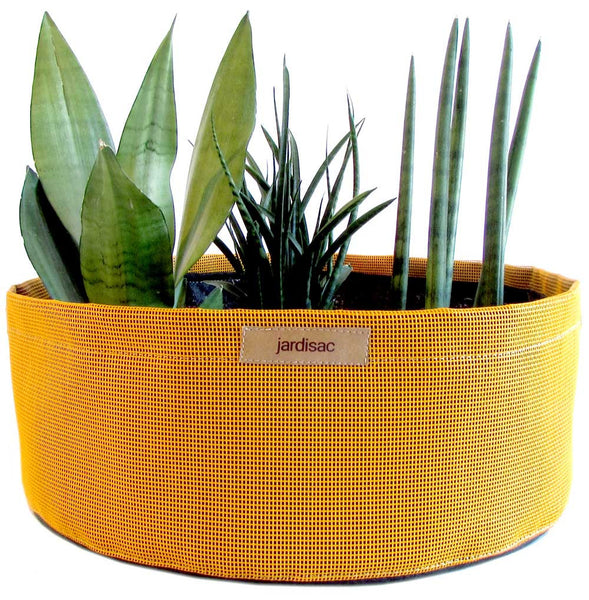 yellow large planters for terrasse and balcony gardening