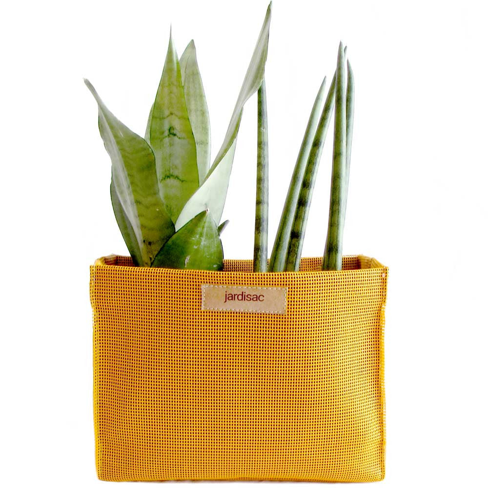 ectangular plant pot yellow in plastic and geotextile cheap bag