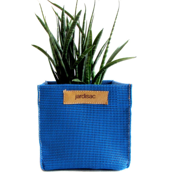 Square blue planter boxes for indoor and outdoor