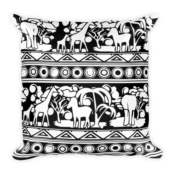 African Proverb: Black & White Safari Pillow - Infinity 6 Apparel, LLC